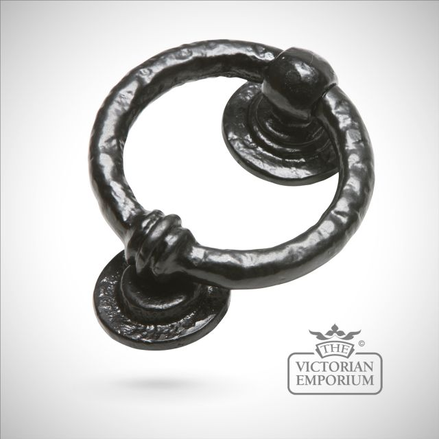 Black iron handcrafted round door knocker