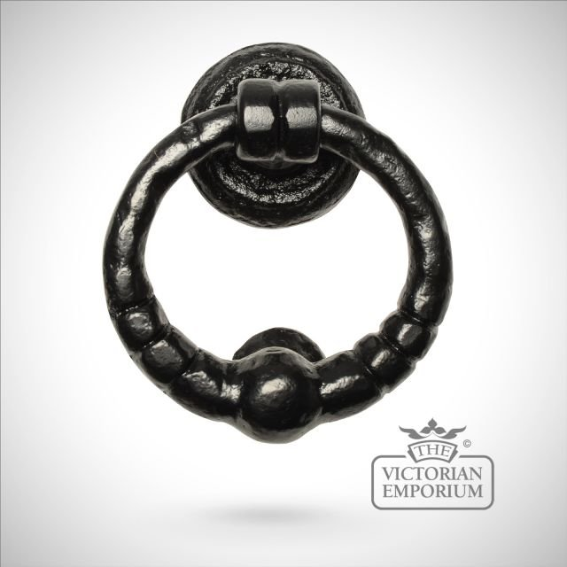 Black iron handcrafted circular door knocker
