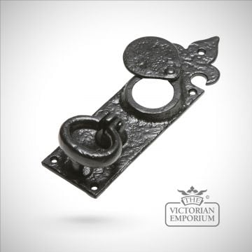 Black iron handcrafted cylinder latch