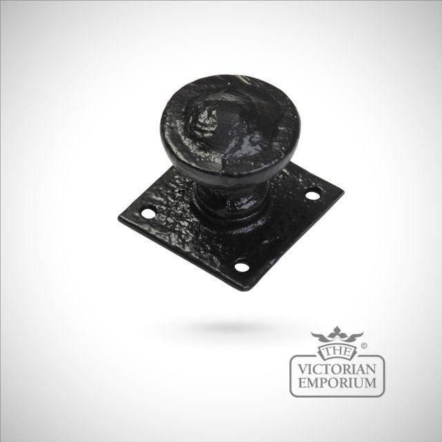 Black iron handcrafted rustic circular door knob