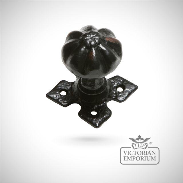 Black iron handcrafted fluted circular door knob