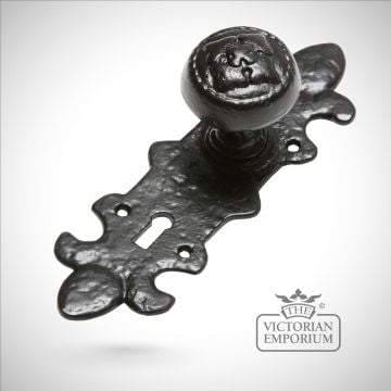 Black iron handcrafted highly decorative door knob