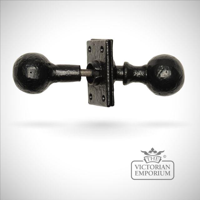Black iron handcrafted rustic sphere door knob