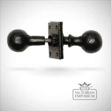 Black iron handcrafted rustic sphere door knob