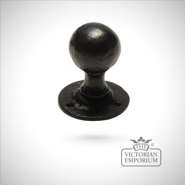Black iron handcrafted door knob - pair