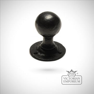 Black iron handcrafted door knob - pair
