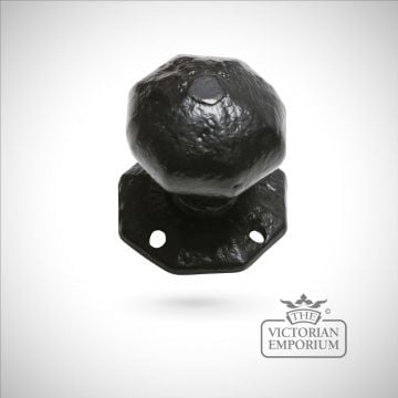 Black iron handcrafted hexagonal door knob