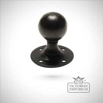 Black iron handcrafted round door knob