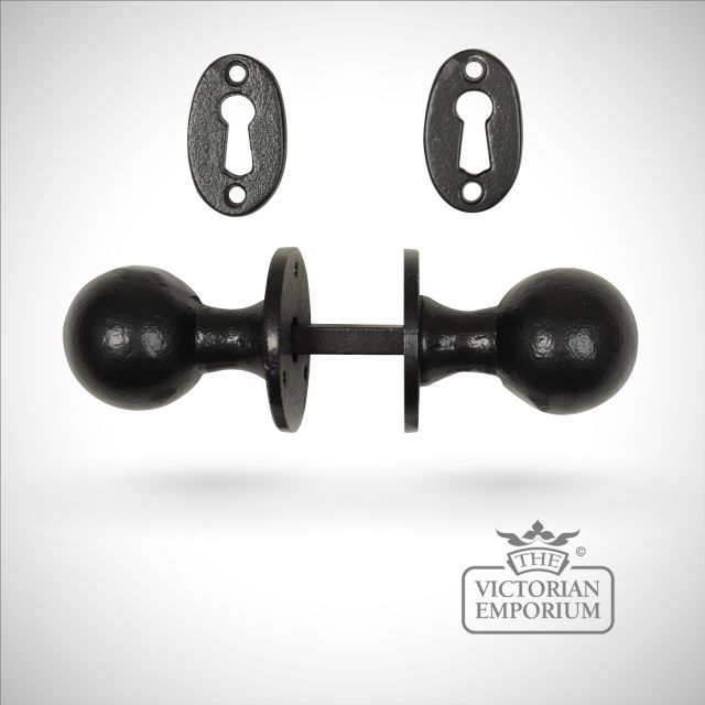 Black iron handcrafted classic round door knob