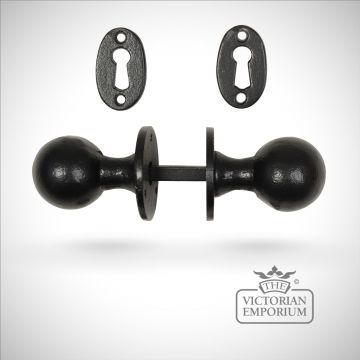 Black iron handcrafted classic round door knob