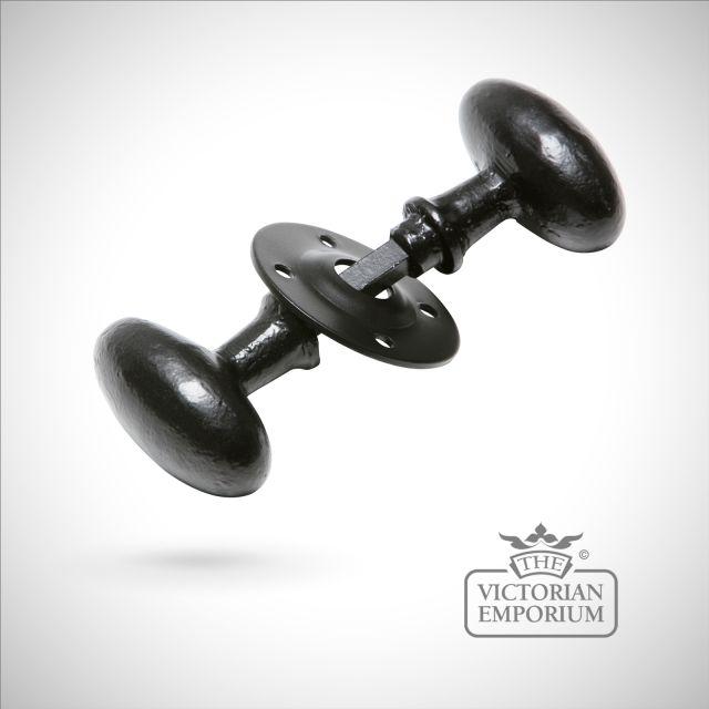 Black iron handcrafted oval door knob