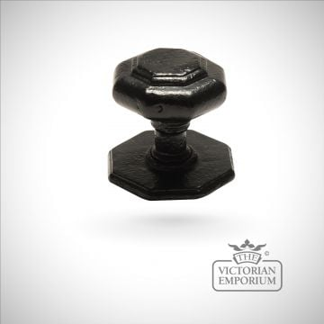 Black iron handcrafted hexagonal centre door knob