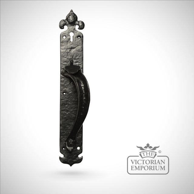 Black iron handcrafted door handle