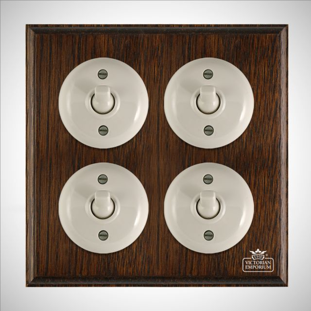4 gang Bakelite light switch - plain white or brown
