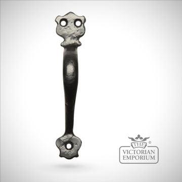 Black iron handcrafted pull door handle - Style 1