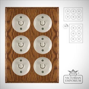 6 gang Bakelite light switch - plain white or brown