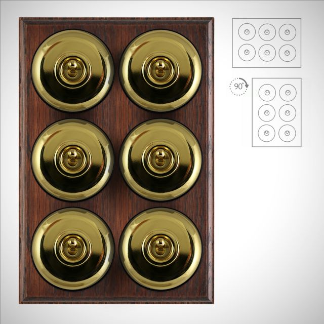 6 gang period light switch - plain in a choice of finishes