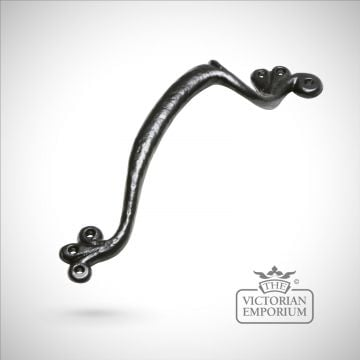 Black iron handcrafted door handle - choice of sizes
