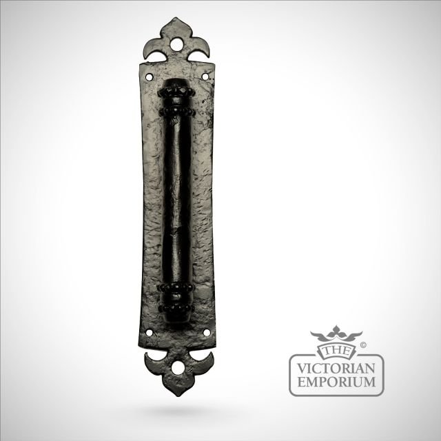 Black iron handcrafted door handle - 343mm plate