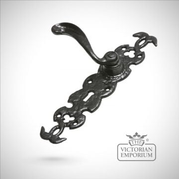 Black iron intricate design handcrafted door handle
