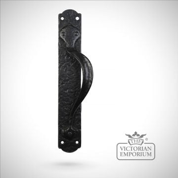 Black iron handcrafted door handle - 317mm plate