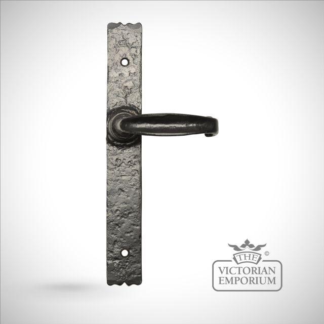 Black iron handcrafted lever door handle - Style 2