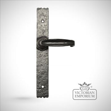 Black iron handcrafted lever door handle - Style 2