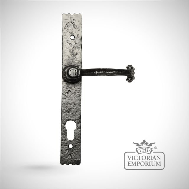 Black iron handcrafted door handle - 3 way locking