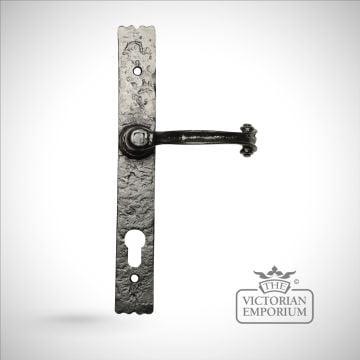 Black iron handcrafted door handle - 3 way locking