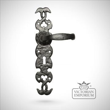 Black iron handcrafted tall lever door handle