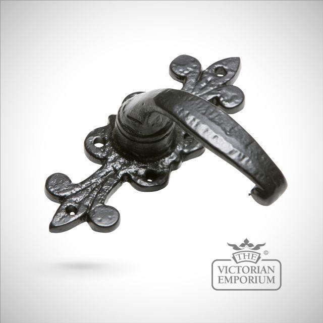 Black iron handcrafted decorative fleur de lys  lever door handle