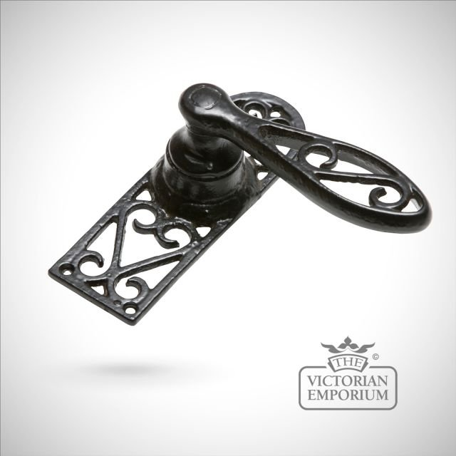 Black iron handcrafted patterned lever door handle