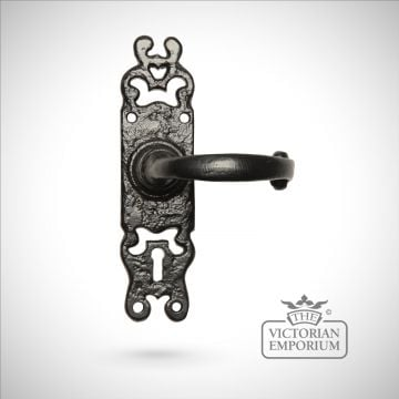 Black iron handcrafted ornate lever door handle - Style 1