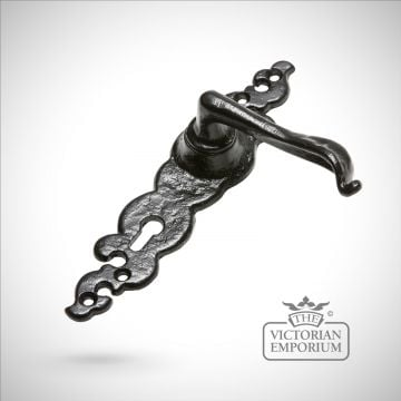Black iron handcrafted lever door handle - Style 5