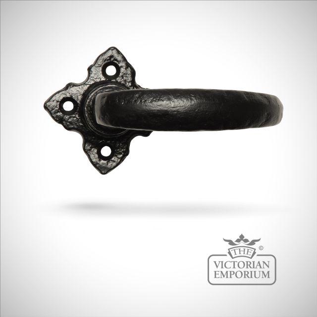 Black iron handcrafted lever door handle - Style 6