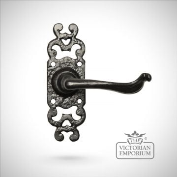 Black iron handcrafted pretty lever door handle