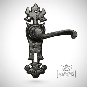 Black iron handcrafted lever door handle - Style 7