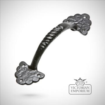 Black iron handcrafted decorative pull door handle with pretty flower edging