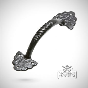 Black iron handcrafted pull door handle - Style 4