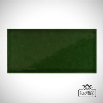 V&A Collection puddle glazed tile in racing green 152x76mm