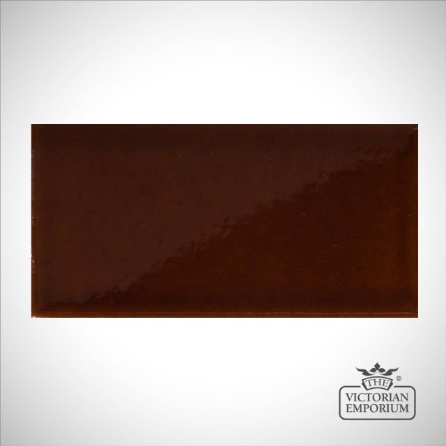 V&A Collection puddle glazed tile in Brown 152x76mm