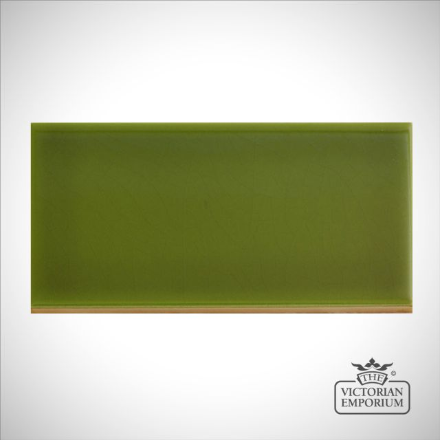 V&A Collection puddle glazed tile in Olive 152x76mm