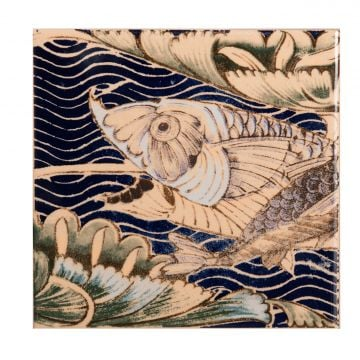 V&A Collection William de Morgan 4 tile Fish Panel