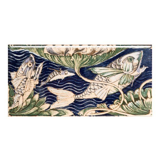 V&A Collection William de Morgan 2tile Fish Panel