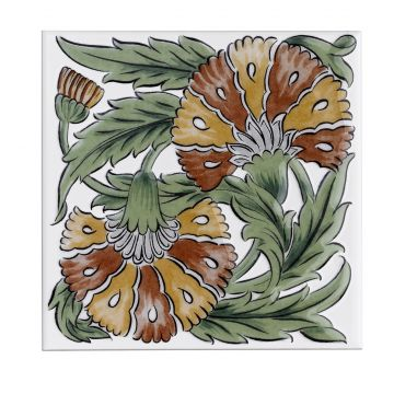 V&A Collection William de Morgan Carnation Tile