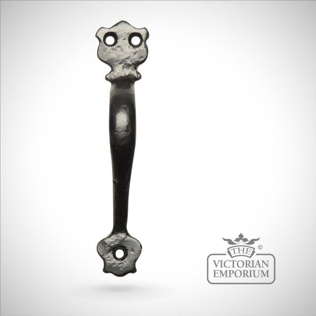 Black iron handcrafted pull door handle - Style 5