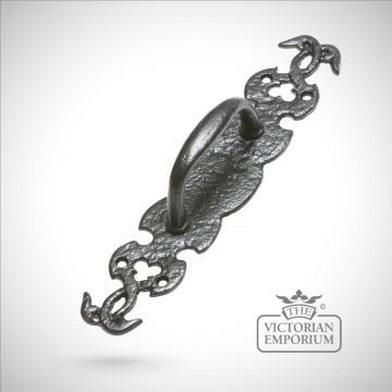 Black iron handcrafted decorative pull door handle with vine design