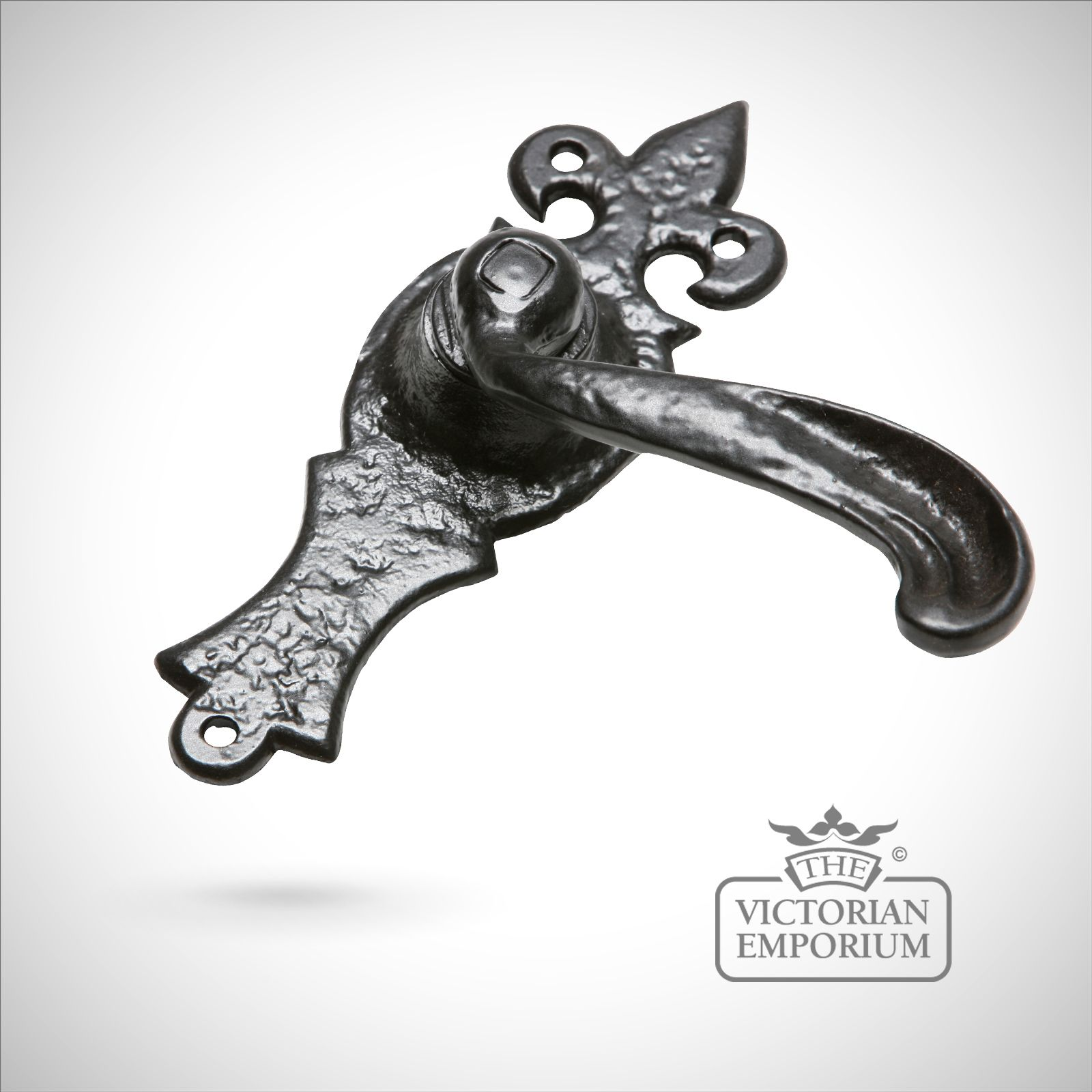Old Fashion Lever : Black iron handcrafted ornate lever door handle style