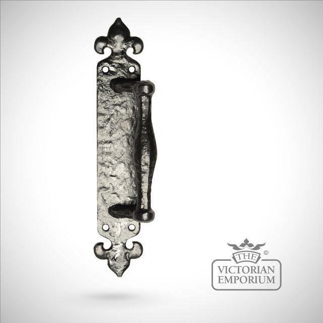 Black iron handcrafted fleur de lys pull door handle