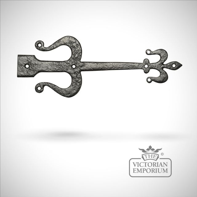 Black iron handcrafted legged hinge pair